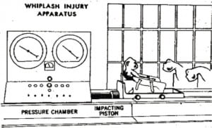 Figure 1. Ommaya's whiplash study apparatus. Foot note: Reproduced with permission Ommaya et al, JAMA 1968;204(4)4 Copyright Auspices of the Board of Trustees, 1968.