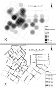 Figure 1. Pedestrian crash density: (a) ordinary Kernel Density Estimation with search radius of 100 m and cell size of 3 m; and (b) Network Versions of Kernel Density Estimation with search radius of 100 m and cell size of 3 m.